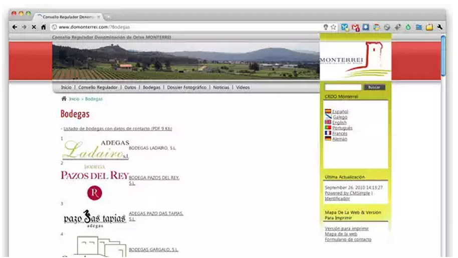 Redeseño + actualización web CRDO Monterrei